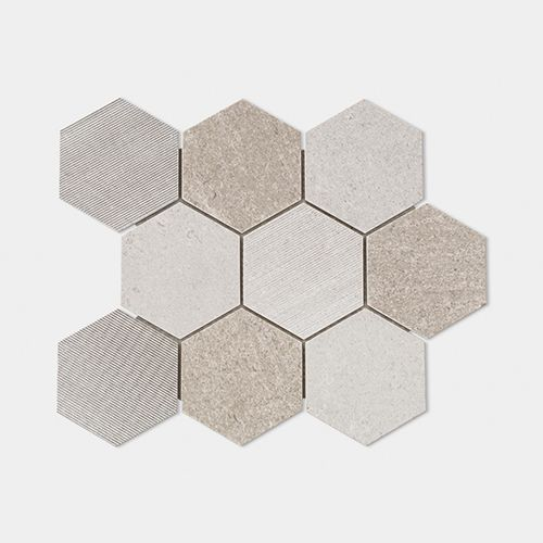 WORLD HEXAGON TEXT. GREY 30,5X30,5